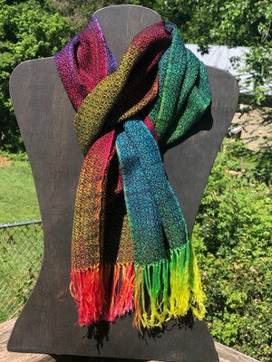 Hand Dyed Handwoven Tencel Rainbow 🌈 Scarf