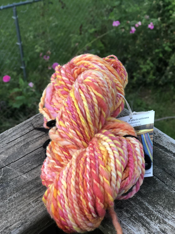Handspun Peachy Pink Yellow Merino Yarn