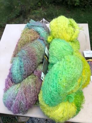 Hand Dyed Alpaca/Merino Boucle Fingering Weight Yarn