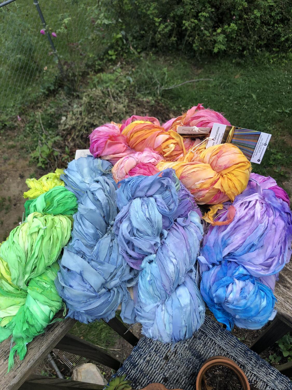 Hand Dyed Recycled Sari Silk Ribbon