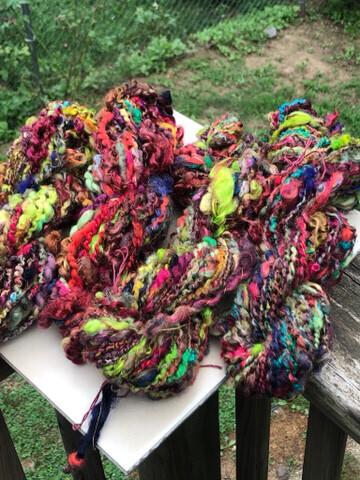 Handspun Mixed Fiber Locks Art Yarn