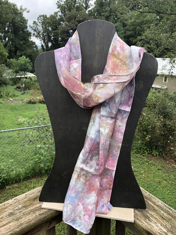 Hand Dyed Habotai Silk Scarf 11 x 60 Ice Dyed