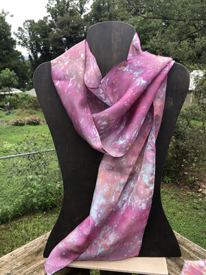 Hand Dyed Habitai Silk Scarf 11 x 60 Ice Dyed
