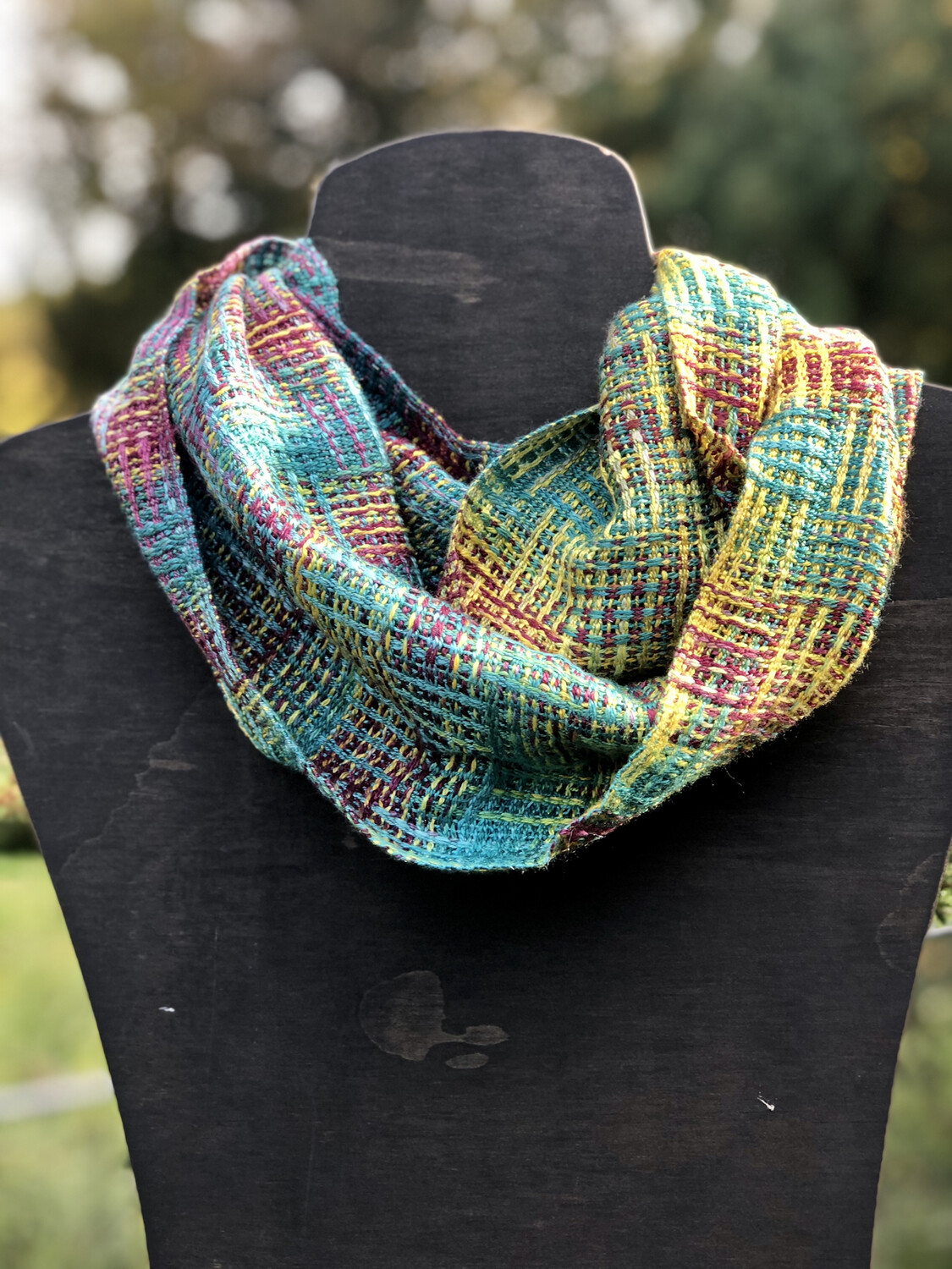 Hand Dyed Handwoven Tencel & Bamboo Infinity Scarf Cowl