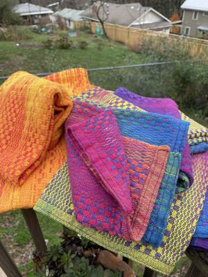 Handwoven Hand Dyed Kitchen Towel Sunset