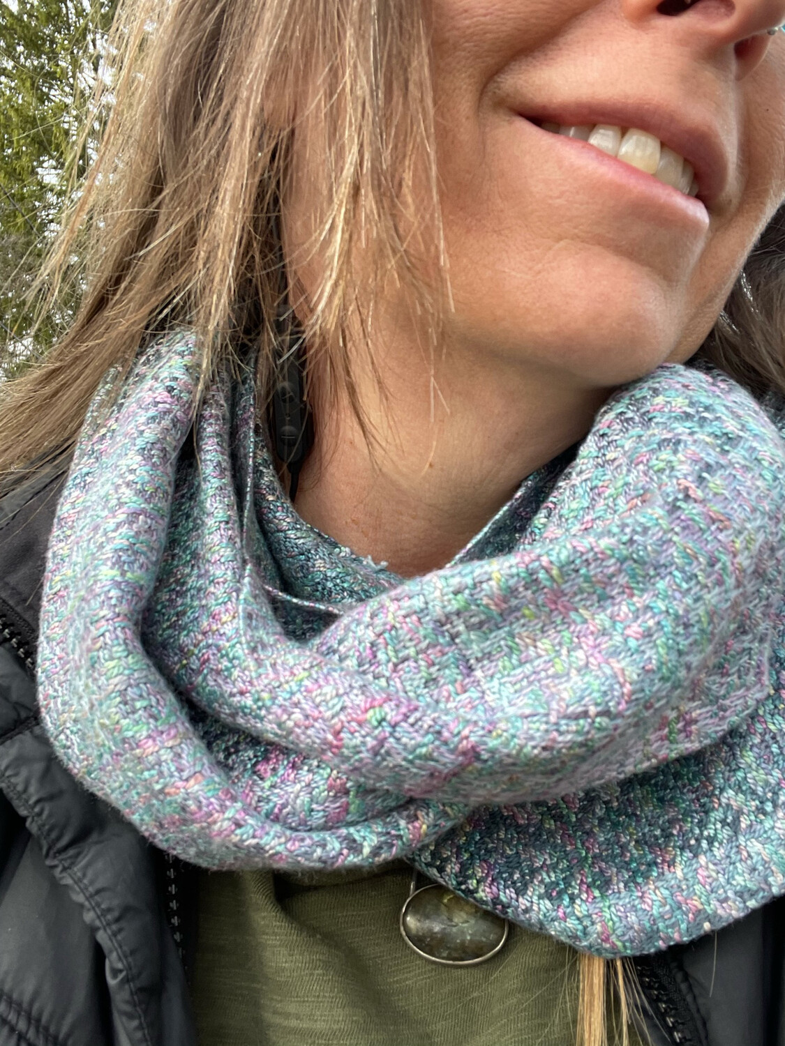 Hand Dyed Handwoven Tencel Seacell Infinity Scarf Cowl