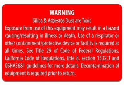 Equipment Decal - Silica Warning