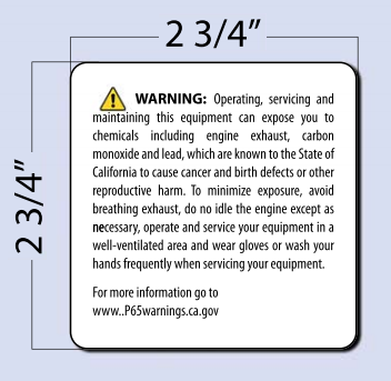 PROP 65 Warning - LG - Equipment Decal