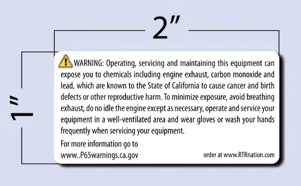 PROP 65 Warning - SM - Equipment Decal