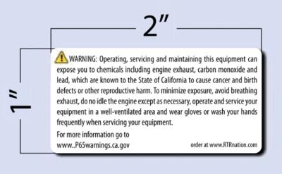 PROP 65 Warning - SM - Equipment Decal