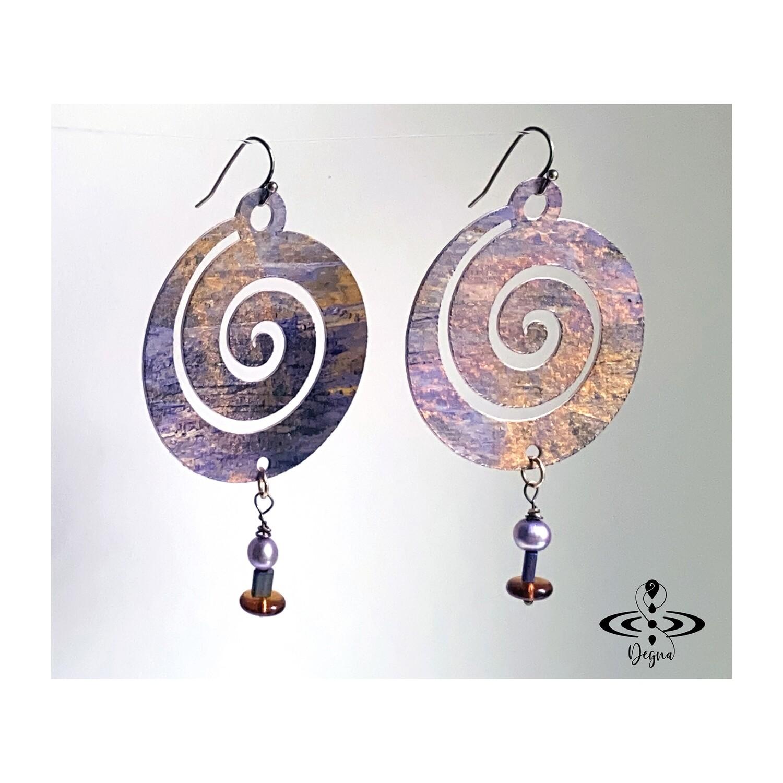 Boho chic, spiral dangle earrings
