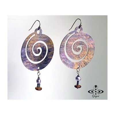 Boho chic, spiral dangle earrings