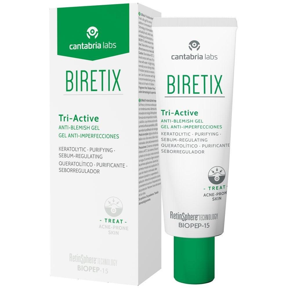 BIRETIX TRIACTIVE 50_ml. Gel fresco y de textura sedosa con formula con triple acción: purificante, electrolítica y sebo-reguladora.
