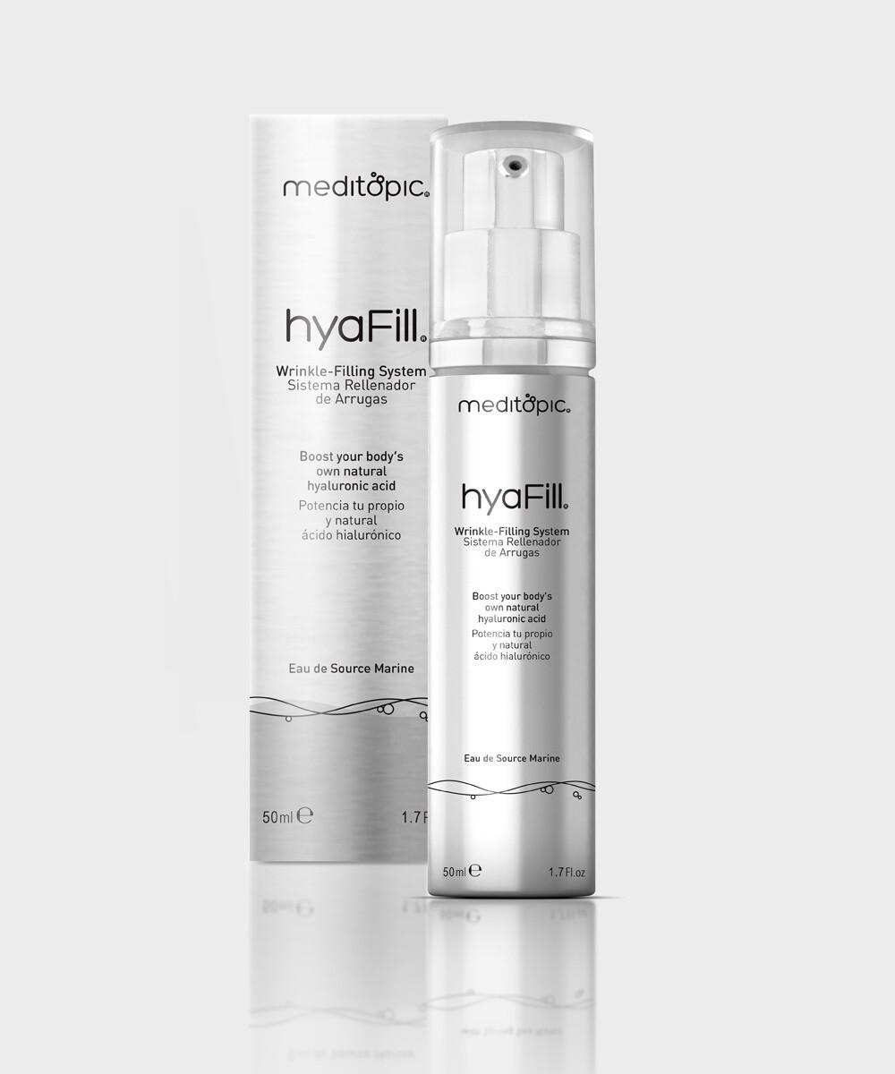 HYAFILL Sistema de relleno de arrugas hyaFill® de Meditopic proporciona rejuvenecimiento facial no quirúrgico, no invasivo basado en la síntesis natural en la piel de ácido hialurónico. 50ml.