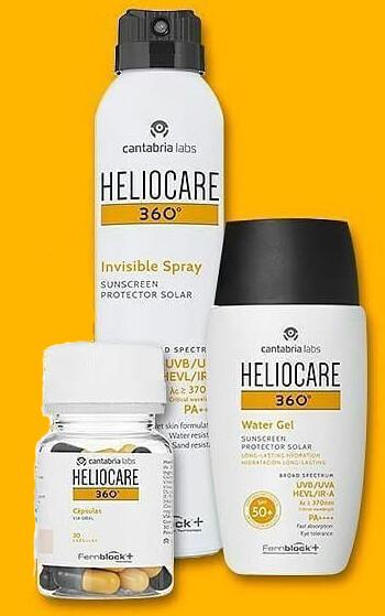 Trio HELIOCARE 360. Consta de: Cuerpo: Spray Invisible 200ml,  Cara: Whater Gel 50ml y  Complemento: Capsulas 360, 30 cap