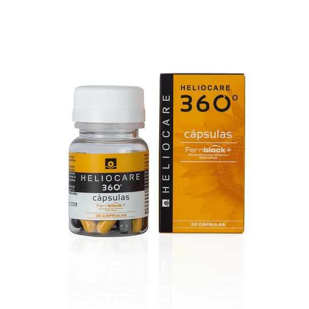 HELIOCARE 360 CAPSULAS. Indicado en pieles con especial intolerancia al sol, fototipos muy claros, manchas cutáneas, fotoenvejecimiento, pieles sometidas a tratamientos fotosensibilizantes.