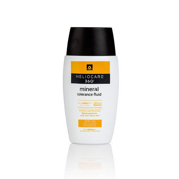 HELIOCARE 360 MINERAL TOLER FLUID. 50ml. Cobertura completa frente: UVB, UVA,  filtros físicos y especialmente indicado para pieles sensibles e intolerantes.