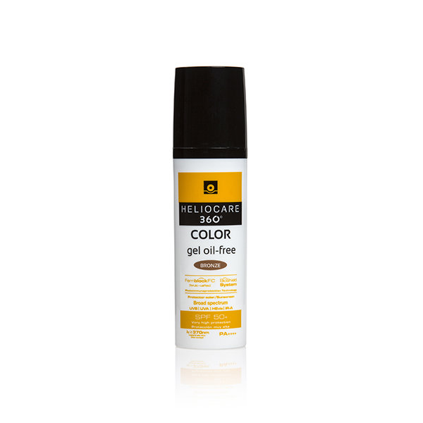 HELIOCARE 360 COLOR GEL OIL FREE (3 tonos).  50ml. Cobertura completa frente: UVB, UVA, IR-A y Radiación Visible. Con color.