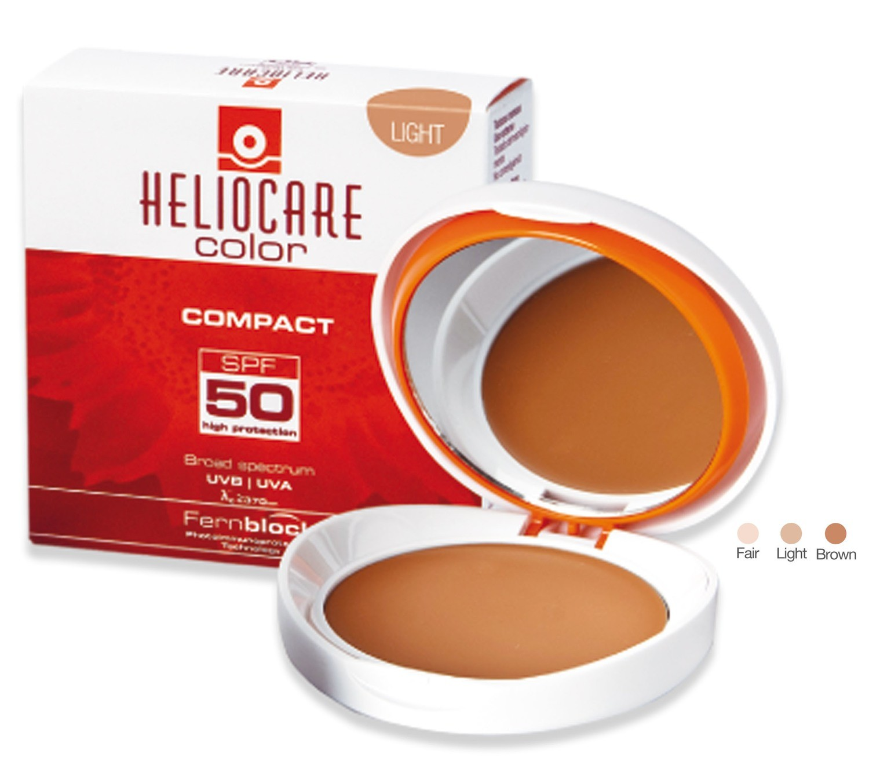 HELIOCARE Compacto SPF 50.  En 3 tonos. maquillaje fotoinmunoprotector que te aporta al instante un aspecto bronceado impecable y luminoso.