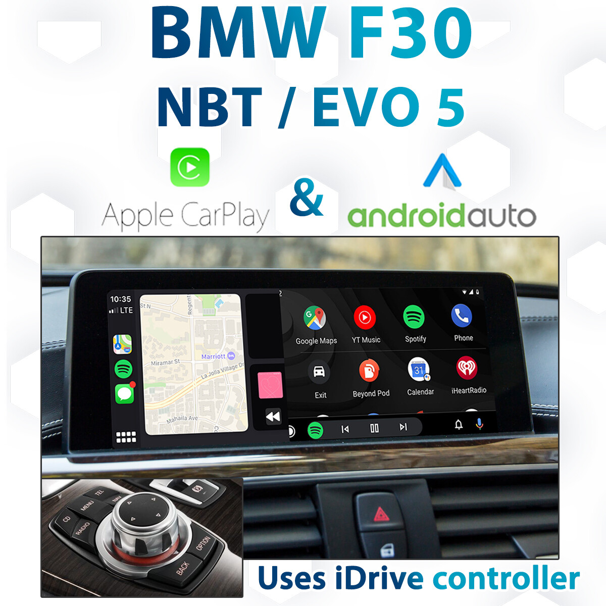 BMW F30 3 Series -  iDrive NBT / EVO iD5 Apple CarPlay & Android Auto Integration kit