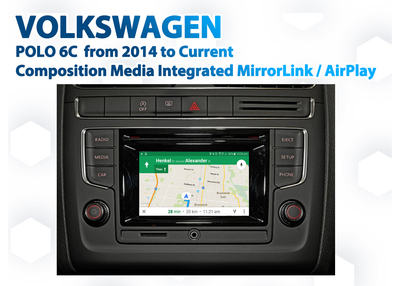 VW Polo 6C Composition Media Audio Integrated Smartphone MirrorLink / AirPlay GPS system