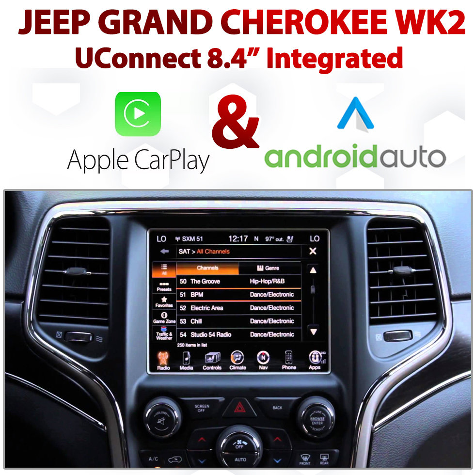 "Jeep Grand Cherokee WK2 UConnect 8.4"" Integrated Android Auto & Apple CarPlay Package Kit"