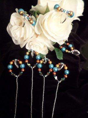 Bouquet Picks - Burnt Orange/Ocean Blue