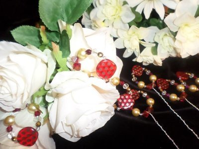 Bouquet Picks - Fire Red/Gold