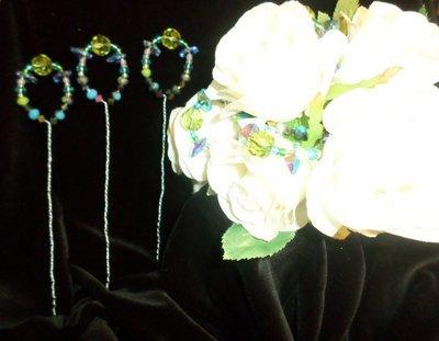 Bouquet Picks - Emerald Green/Sky Blue