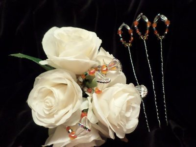 Bouquet Picks - Orange/Silver