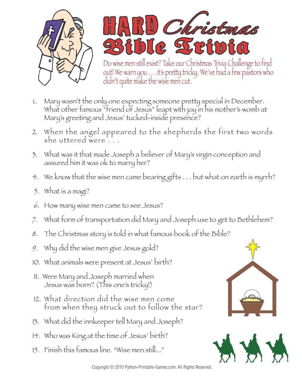 Christmas Christmas Hard Bible Trivia Game