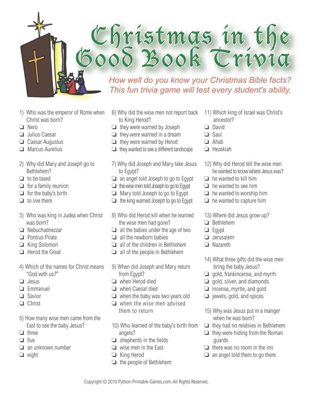 Christmas Christmas Bible Trivia Game
