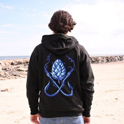 Hooded Pullover Sweatshirt: Black with Hook and Hop