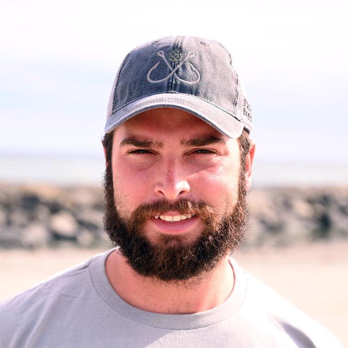 Hooks and Hops Trucker Hat: Grey