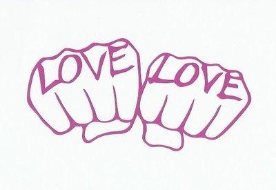 LOVE & LOVE A5 card (white/pink)