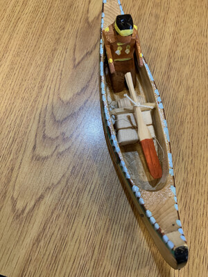 Handcarved Paddle-To-The-Sea Canoe Large