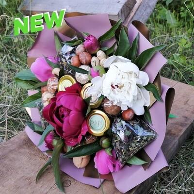 Вкусный букет, XXL - с сезонными цветами