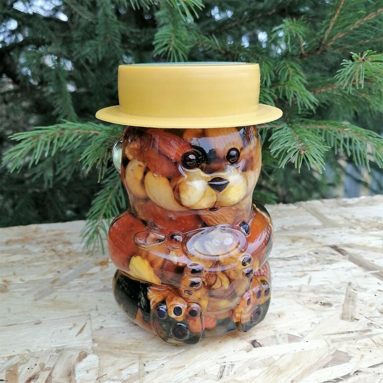 """Орехи и сухофрукты в меду """"Мишка"""", 295 мл."""