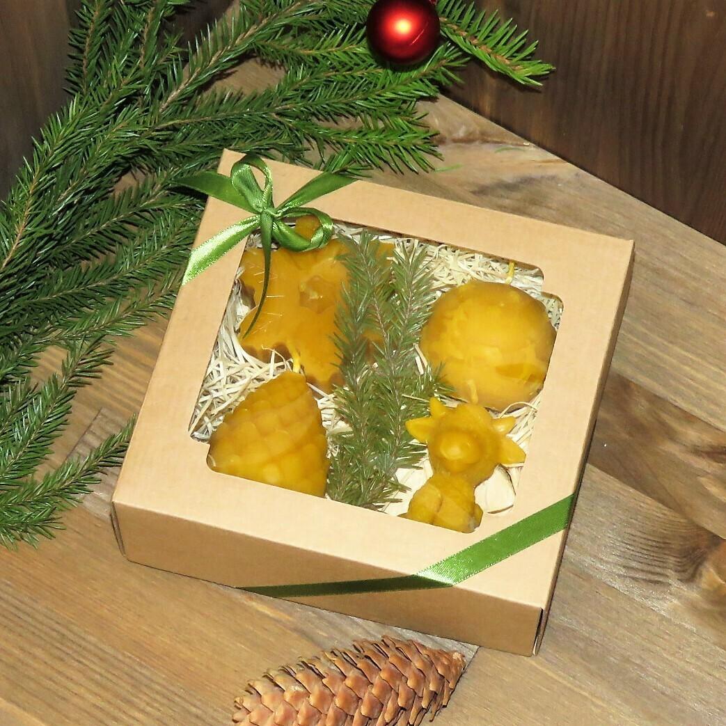 Набор новогодних свечей, 4 шт.