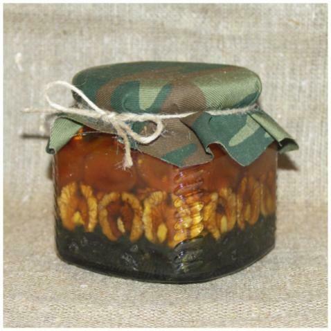 Орехи и сухофрукты в меду (рядами), 390 мл.