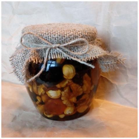 Орехи и сухофрукты (россыпью) в меду, 500 мл.