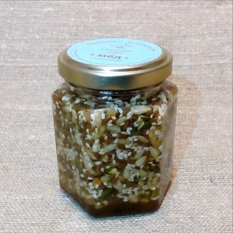 Смесь семян в меду, 165 мл.