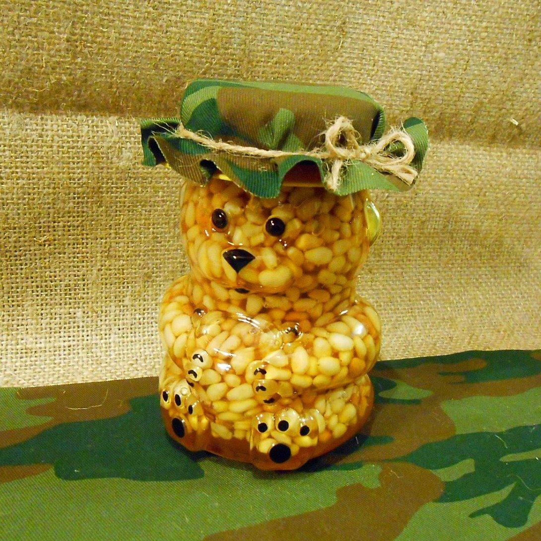 """Кедровые орехи в меду """"Мишка военный"""", 295 мл."""