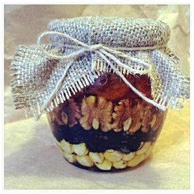 Орехи и сухофрукты (рядами) в меду, 500 мл.