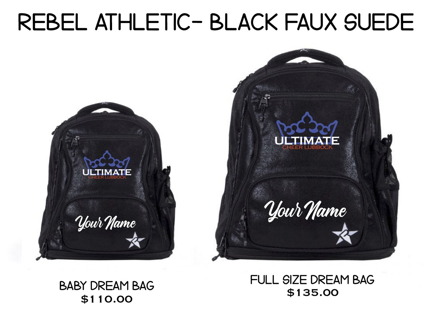 UCL/Rebel Black Faux Suede Backpack (2 SIZES!)