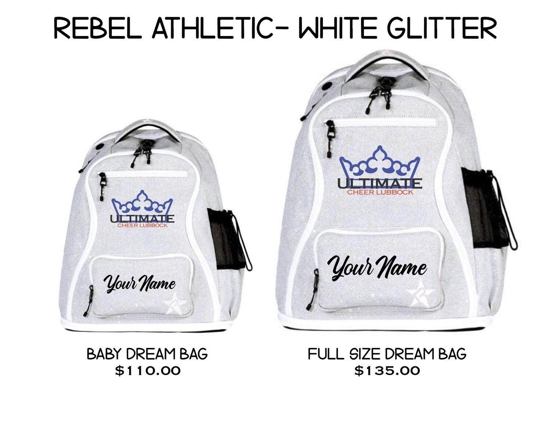 UCL/Rebel White Glitter Backpack (2 SIZES!)
