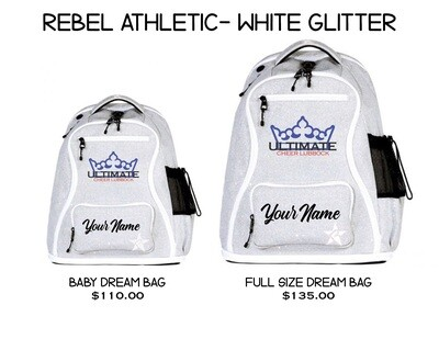 UCL/Rebel White Glitter Backpack (2 SIZES!)