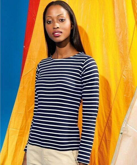 Women's Striped Long Sleeved Tee + 2 Matching Masks
