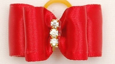 Red Silk Dog Bows