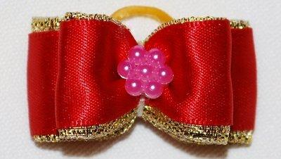 Gold Ribbon Dog Bows